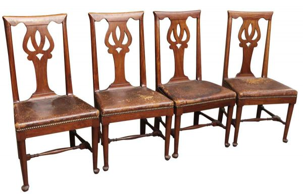 Set of Eight Leather Studded Dining Chairs - Kitchen & Dining