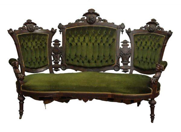 Carved Mahogany Victorian Green Velvet Settee - Living Room