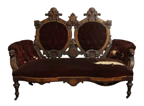 Carved Wood Settee Love Seat with Wine Colored Velvet Fabric - Living Room