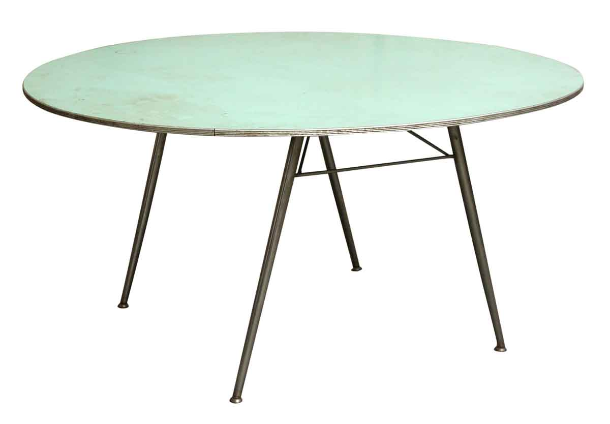 blue round fold up table olde good things. Black Bedroom Furniture Sets. Home Design Ideas