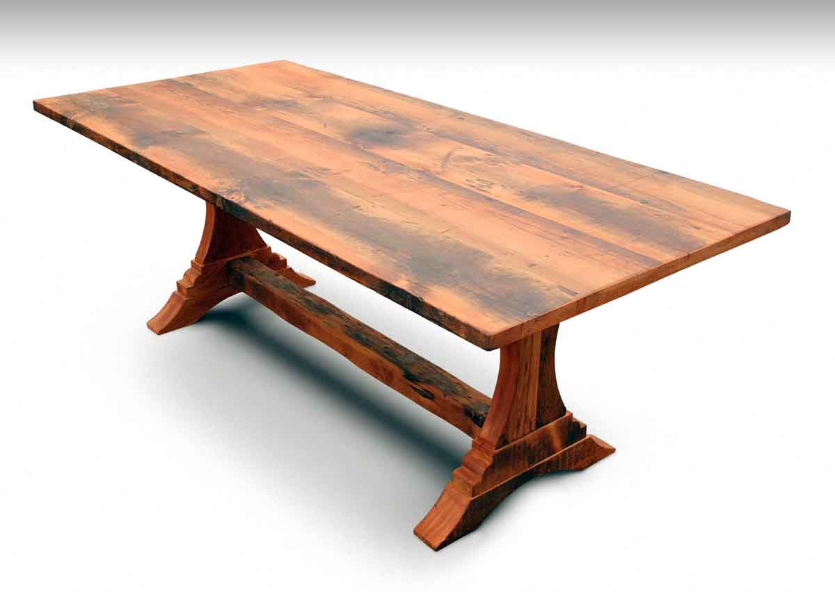 Trestle Leg Pine Farm Table U0026 Bench