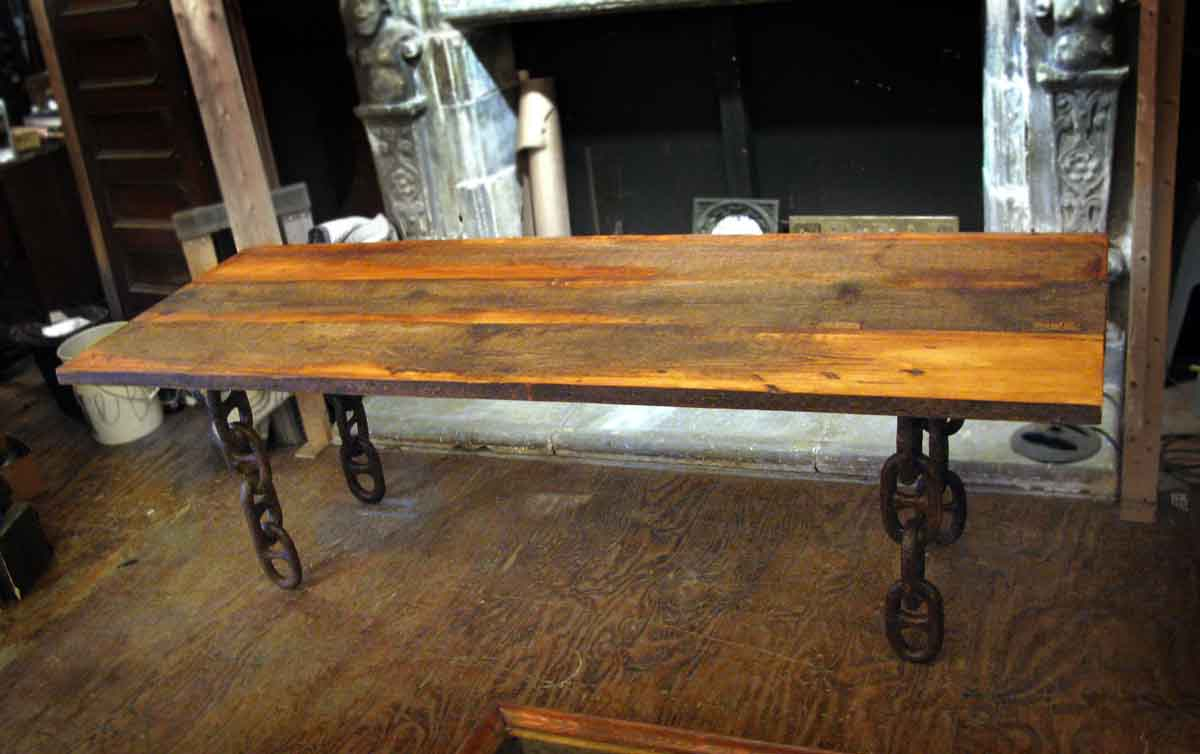 Handmade Rustic Table With Anchor Chain Legs