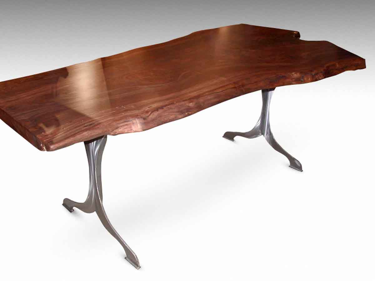 3162a1362b3d4 Live Edge Claro Walnut Table with Brushed Steel Legs