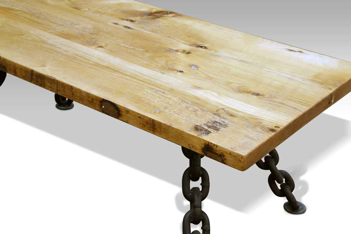 Rustic coffee table with nautical anchor chain legs olde for Nautical coffee table
