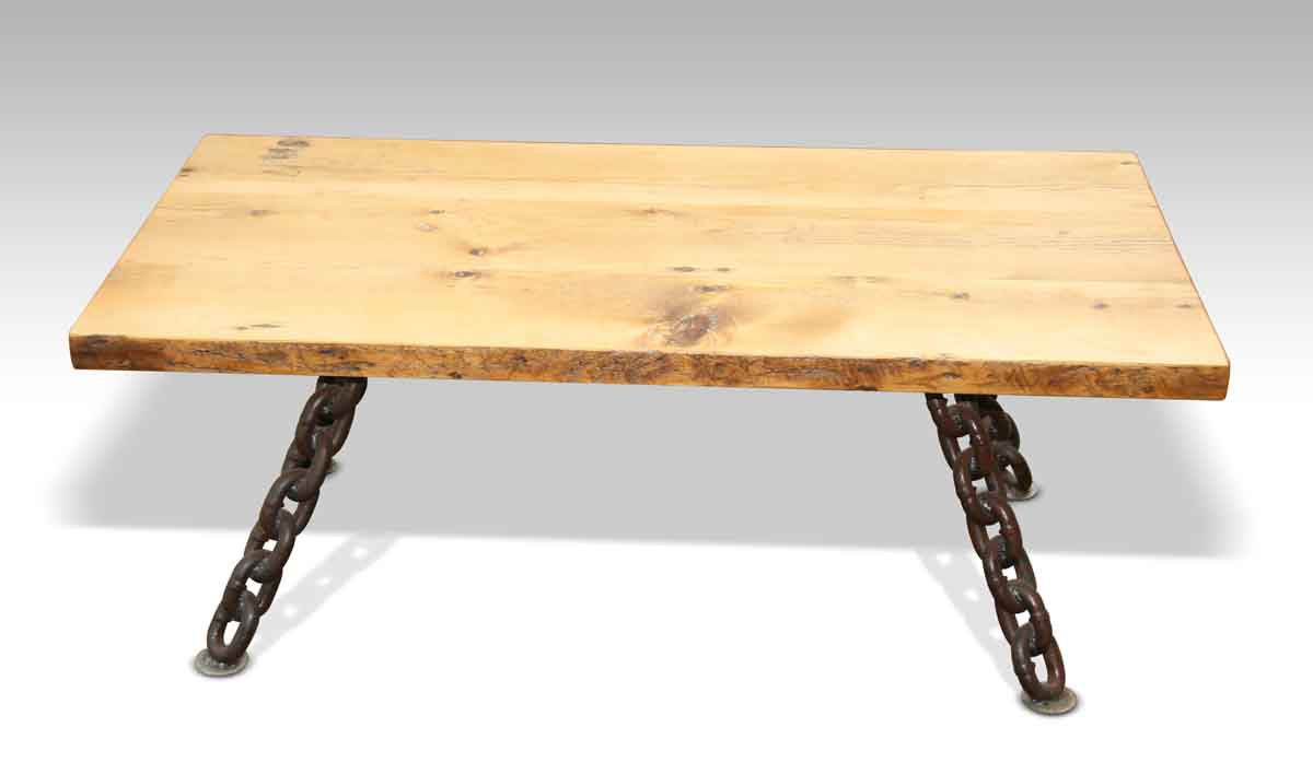 Rustic Coffee Table With Nautical Anchor Chain Legs