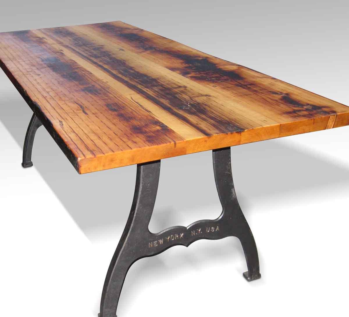 Reclaimed farm table with new york machine legs olde for 10 foot farm table