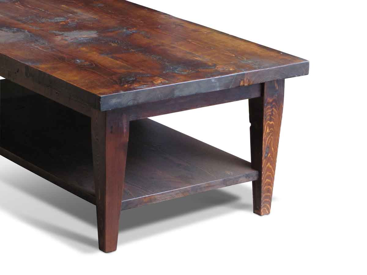reclaimed pine coffee table with bottom shelf | olde good things