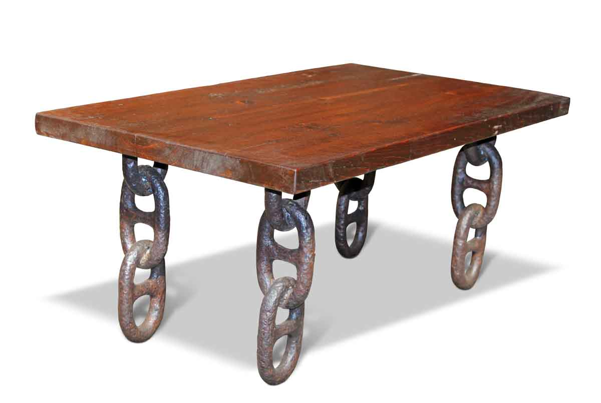 Farm Table Top With Anchor Chain Legs Coffee