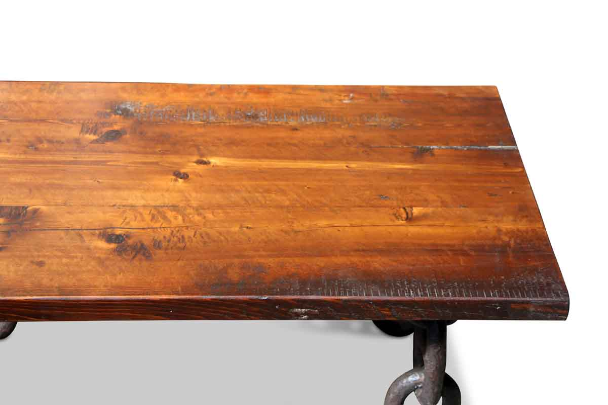 Farm table top with anchor chain legs coffee table olde good things farm table top with anchor chain legs coffee table geotapseo Images