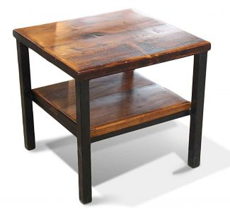 Reclaimed Pine U0026 Metal Farm End Table