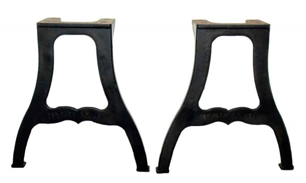 Pair of New York NY Industrial Cast Iron Table Legs