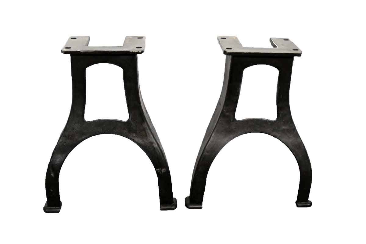 Pair of curved industrial machine cast iron table legs for Iron cast table legs