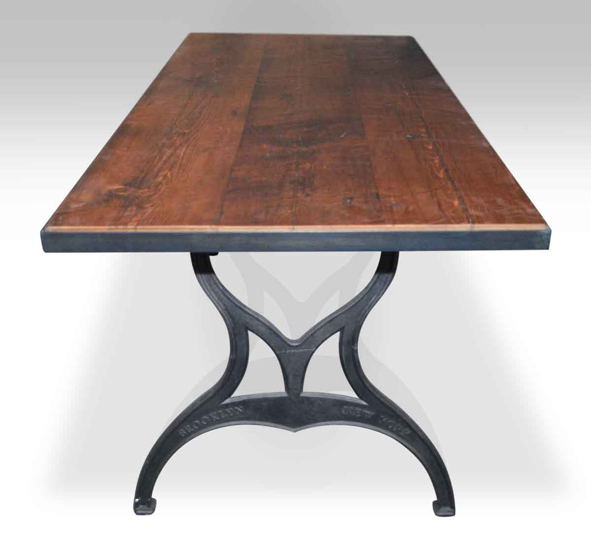 Superior Metal Edged Industrial Farm Table With Brooklyn Legs
