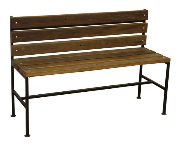 Ipe Wood Bench with Black Iron Legs