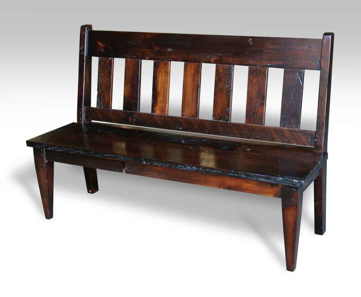 Slat Back Antique Pine Bench with Dark Stain | Olde Good ...