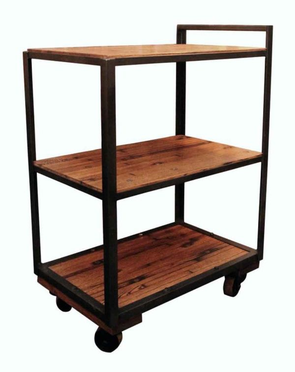 Industrial Bar Cart with Wood Shelves