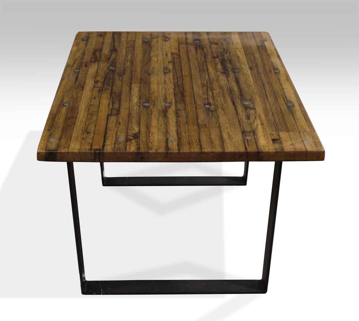 Black Steel Coffee Table Legs: Industrial Flooring Top Coffee Table With Black Steel Legs