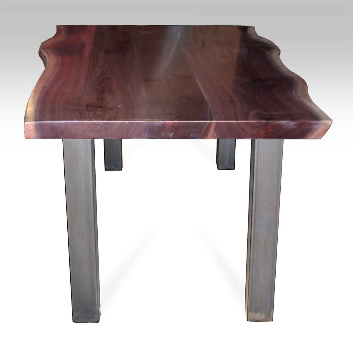Live Edge Walnut Table Top with Square Metal Legs | Olde ...