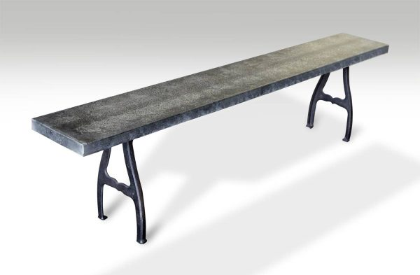 Galvanized Steel Top Bench with Industrial Cast Iron Legs