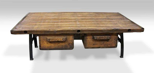 Coffee Table with Two Bin Drawers & Cast Iron Legs