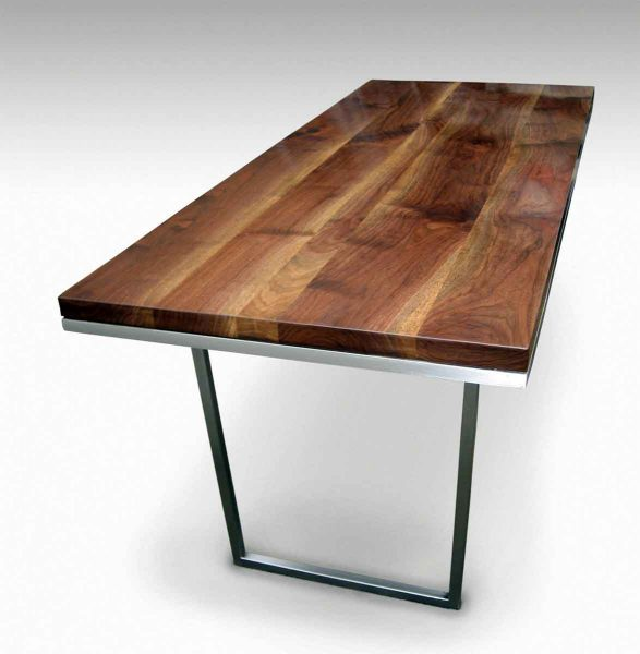 Solid Walnut Table with Steel Base Legs