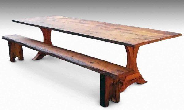 Trestle Leg Pine Farm Table & Bench