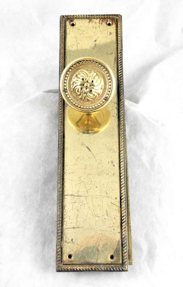 Polished Beaded Brass Antique Doorknob Set