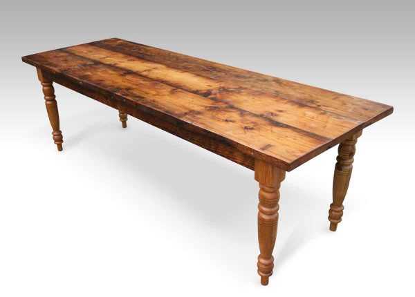 Rustic Pine Farm Table with Turned Legs
