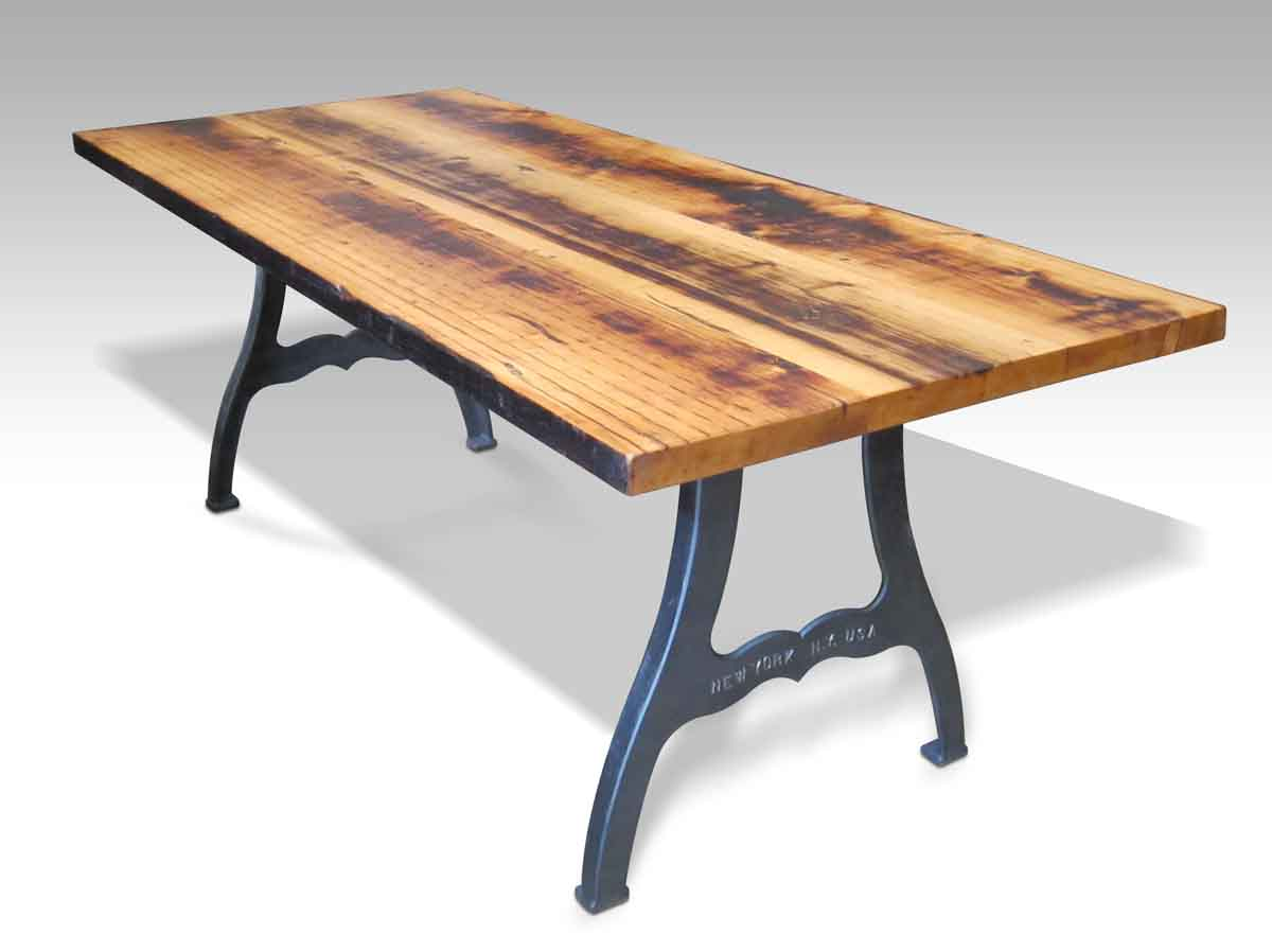 Reclaimed farm table with new york machine legs olde for Table new york