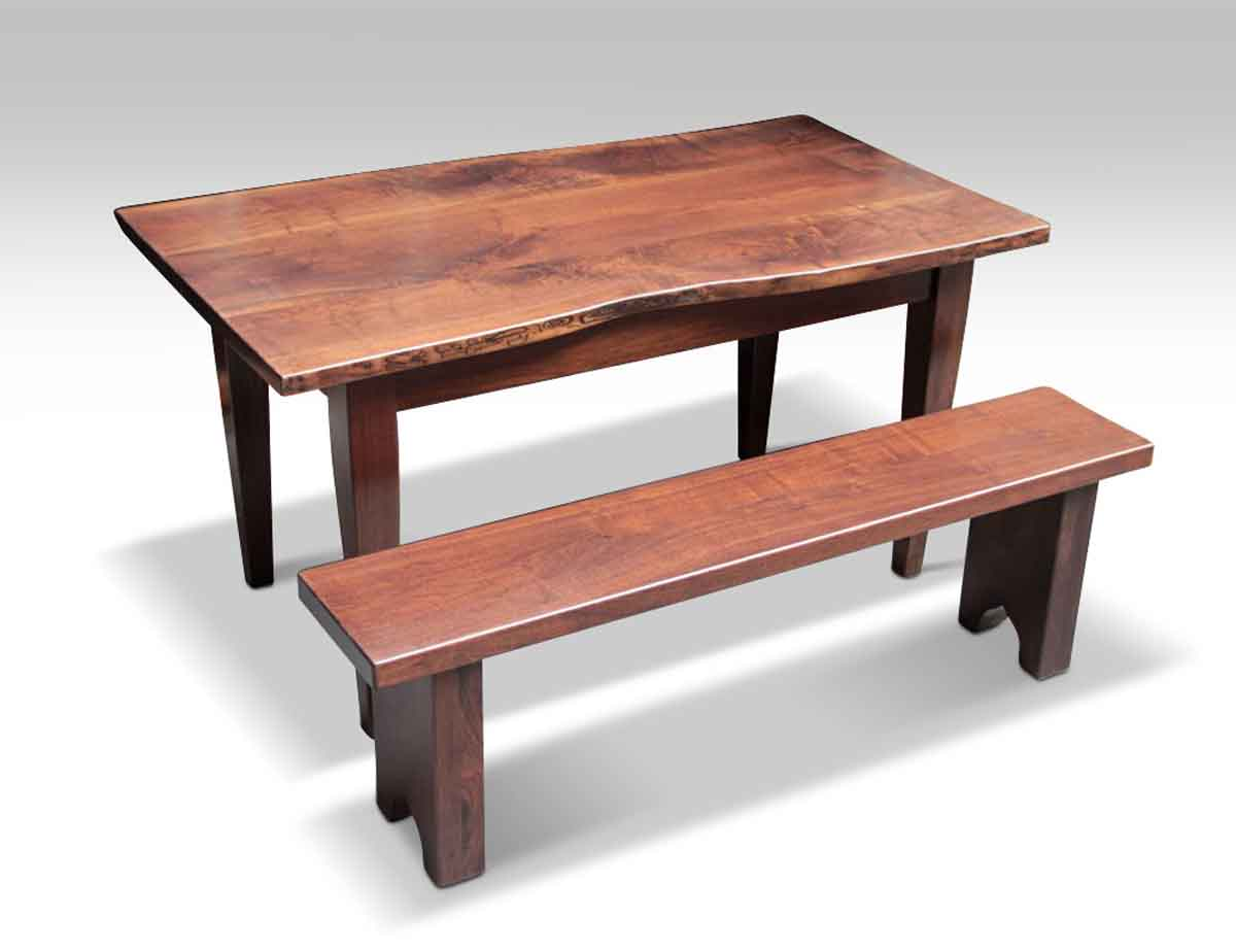 Live Edge Solid Walnut Farm Table U0026 Bench