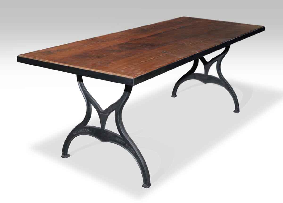 Metal Edged Industrial Farm Table With Brooklyn Legs
