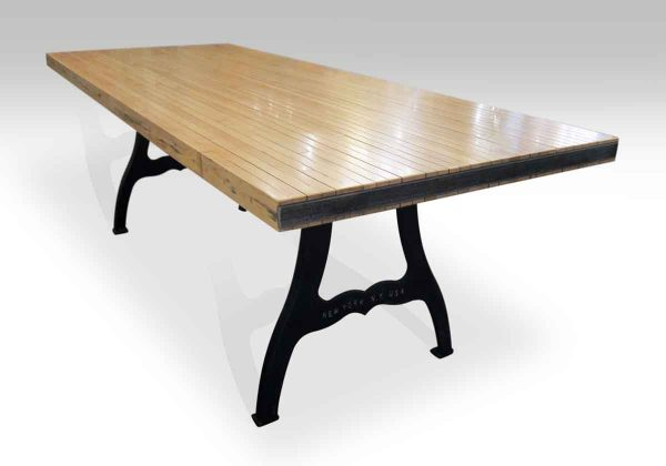 Bowling Alley Flooring Top Table with New York Legs