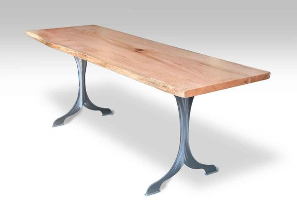Live Edge Oak Table with Brushed Steel Legs
