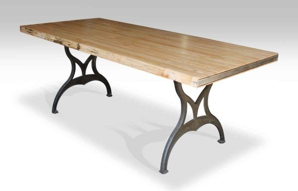 Bowling Alley Top Table with Iron Embossed Brooklyn Ny Legs