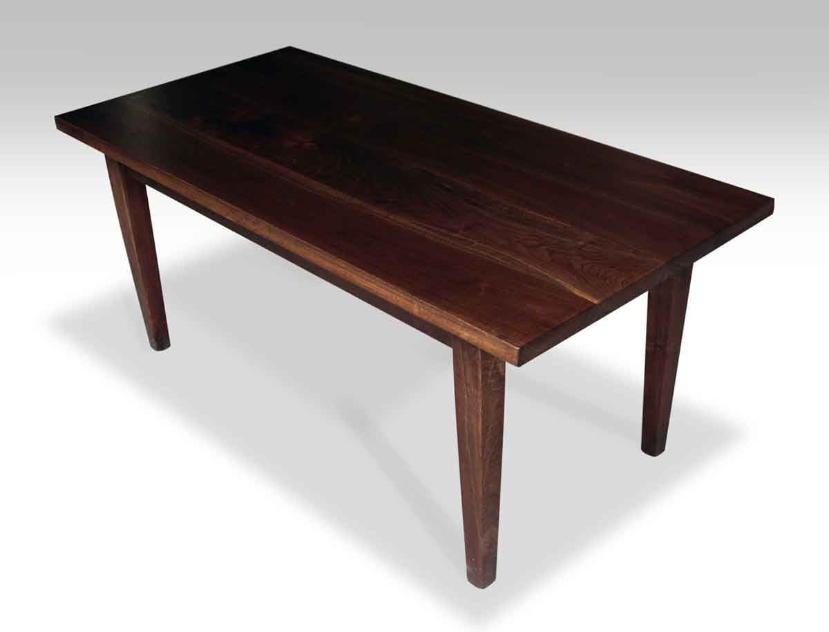 Dark Walnut Farm Table With Tapered Legs