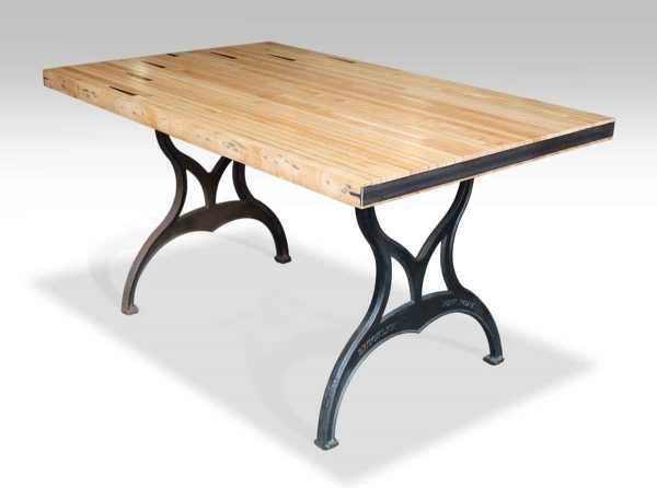 Bowling Alley Top Table with Arrows & Brooklyn Legs
