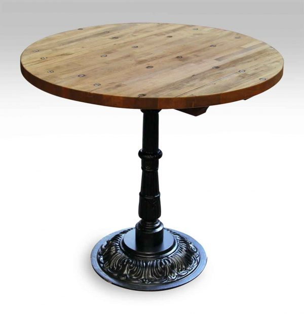 Round Industrial Floor Top Bistro Table with Ornate Base