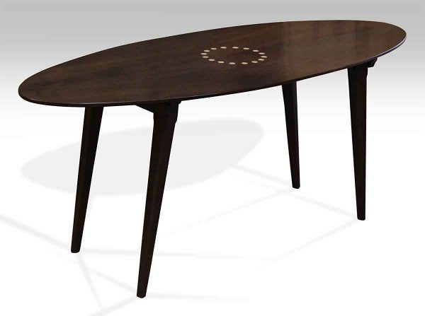 Walnut Ellipse Table with Folding Tapered Legs