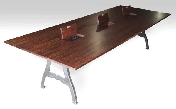 10 Foot Industrial Conference Table with Three Outlet Boxes