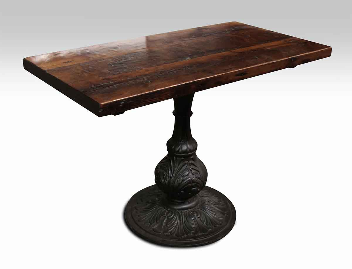 Pine Bistro Table With Ornamental Pedestal Base Olde Good Things - Farmhouse table pedestal base