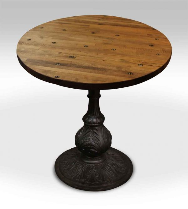 Round Industrial Flooring Bistro Table with Ornate Ball Base