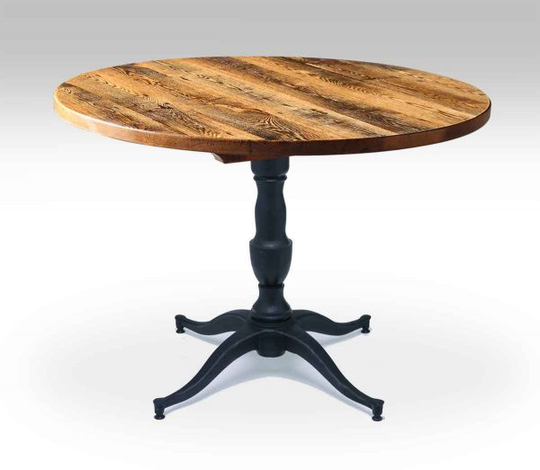 Round Oak Bistro Table with Victorian Base