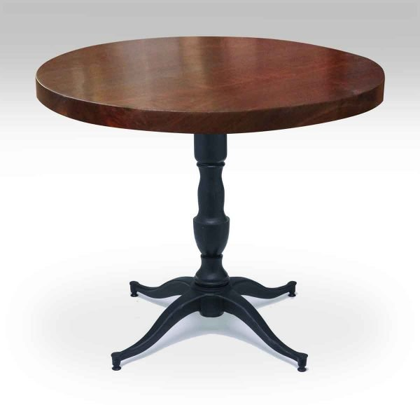 Round Walnut Bistro Table with Victorian Base