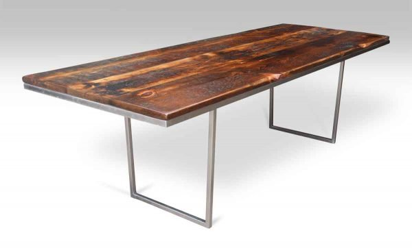 Reclaimed Pine Top Table with Steel Tube Base