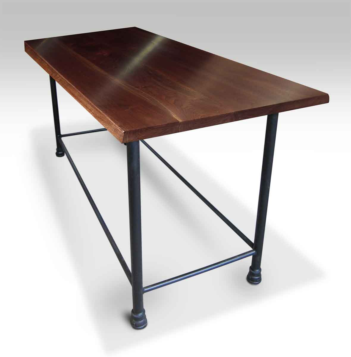 Superieur Walnut Top Table With Pipe Bar Height Base