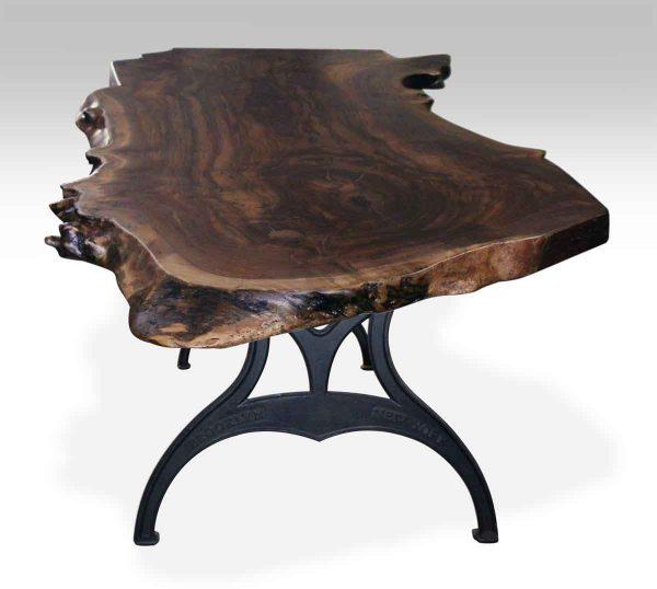 Walnut Slab Top Table with Brooklyn Ny Legs