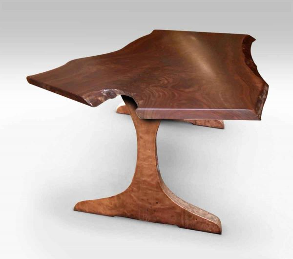 Slab Walnut Table Top with Copper Clad Legs