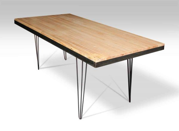 Metal Banded Bowling Alley Top Table with Hair Pin Legs
