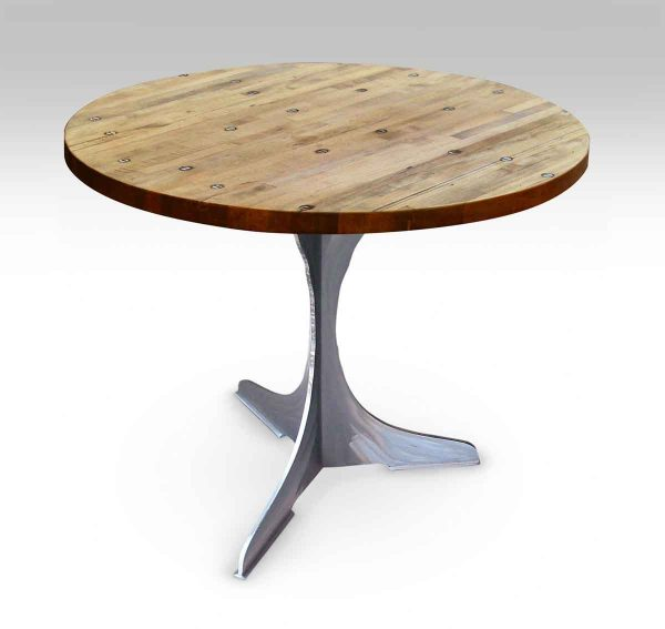 Round Industrial Top Bistro Table with Steel Pedestal Base