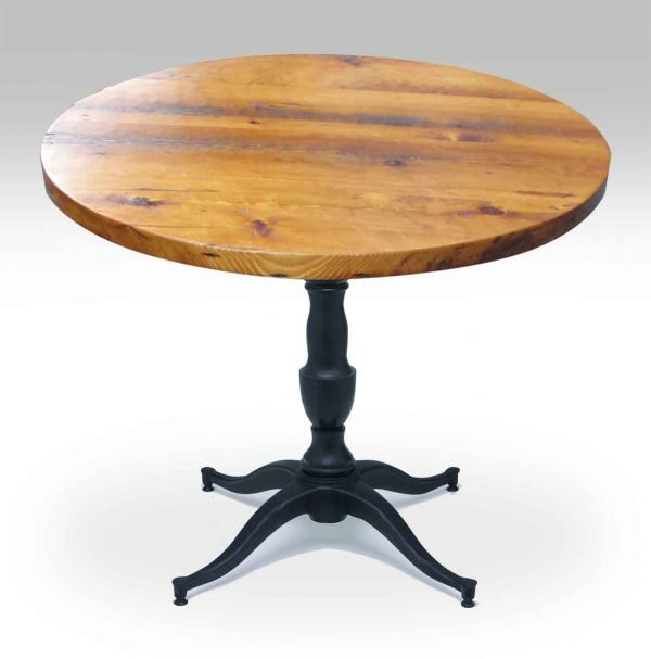 Round Pine Top Bistro Table with Victorian Pedestal Base